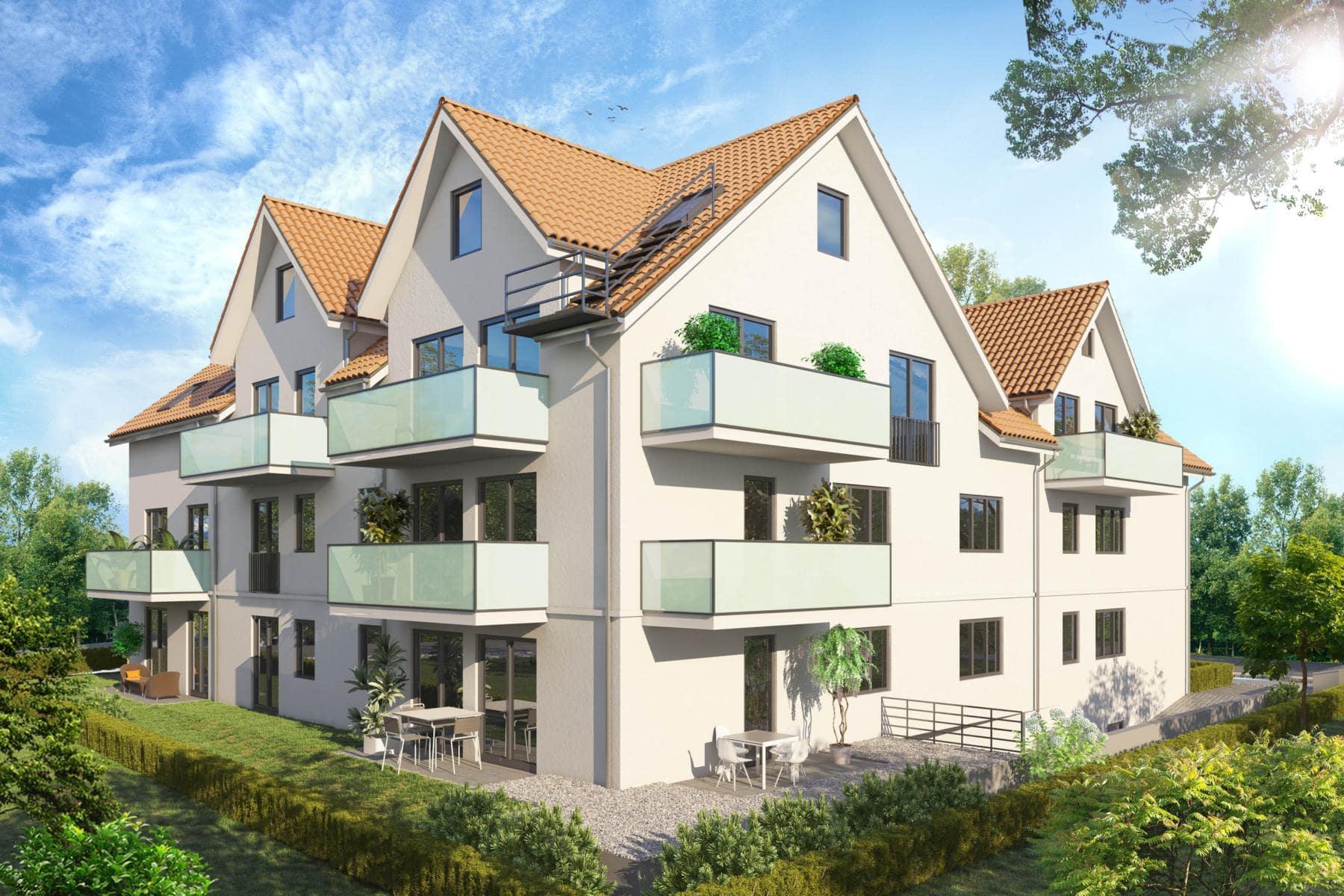 3D Ansicht des Wohngebäudes mit 9 Wohnungen