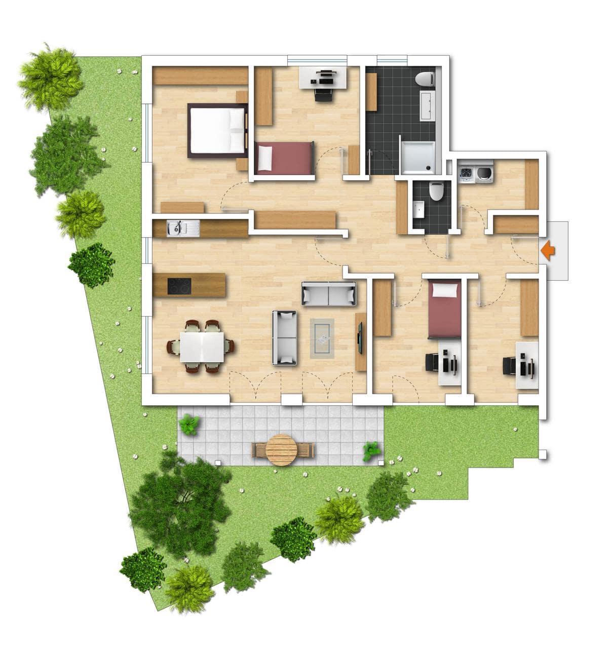 Grundriss Neubauwohnung 1 Bodman im Weiler