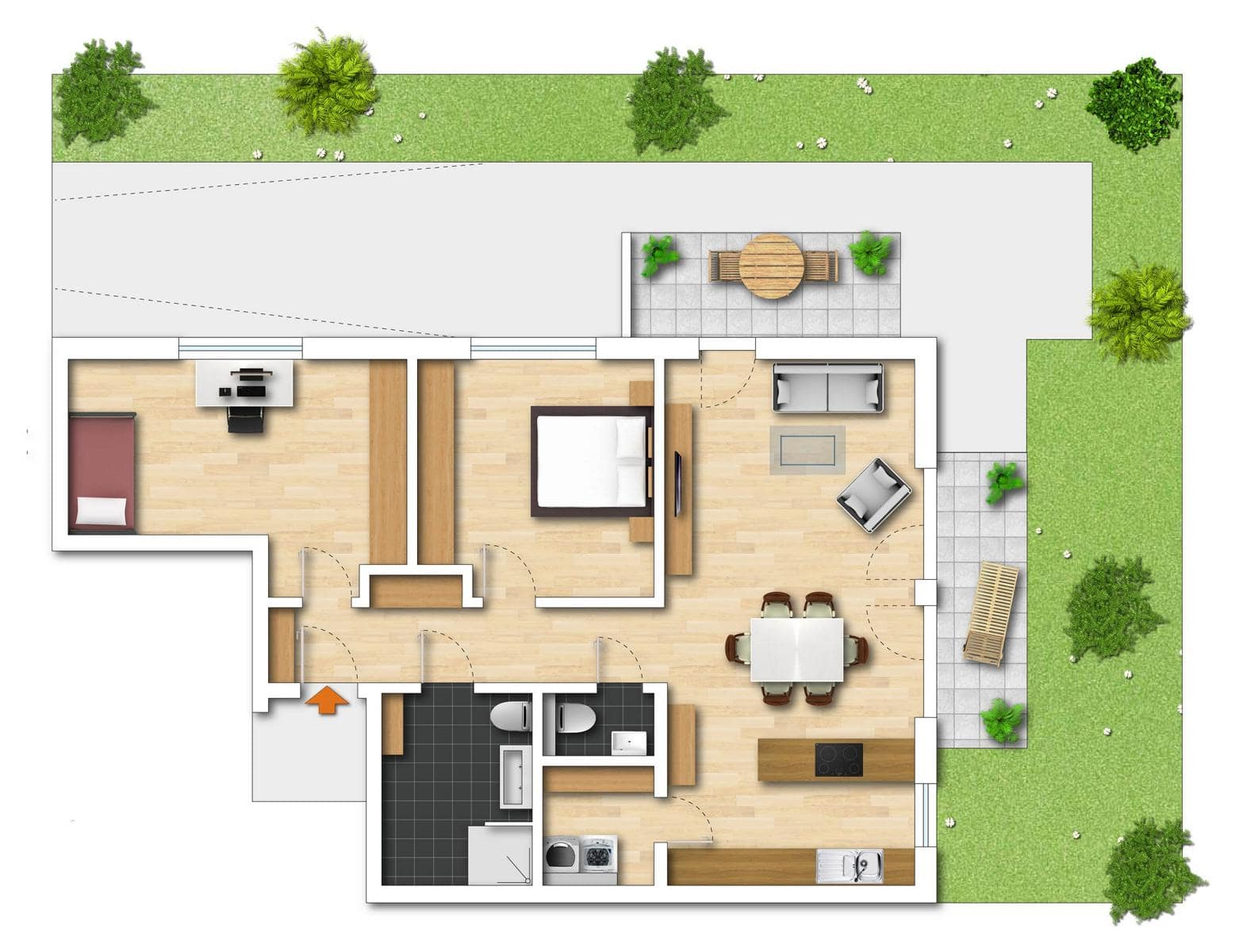 Grundriss Neubauwohnung 2 Bodman im Weiler