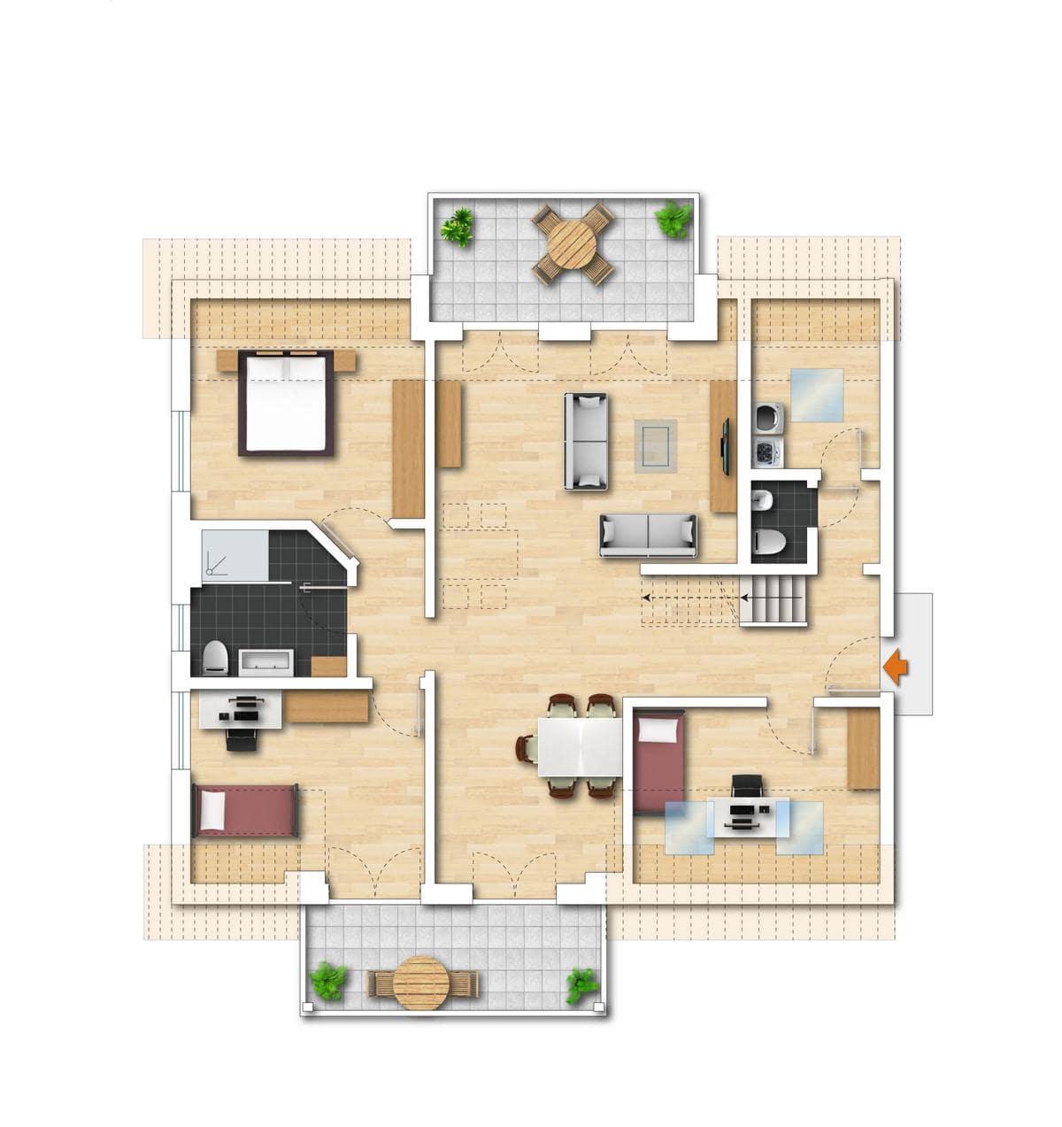 Grundriss Neubauwohnung 7 untere Etage Bodman im Weiler