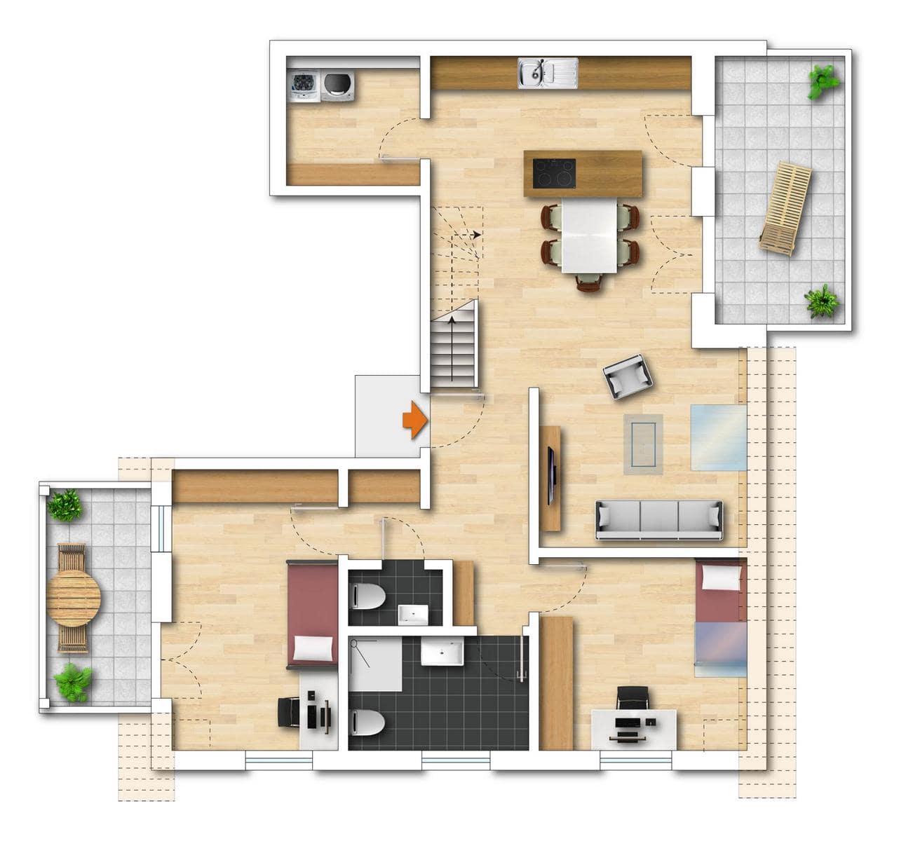 Grundriss Neubauwohnung 9 untere Etage Bodman im Weiler