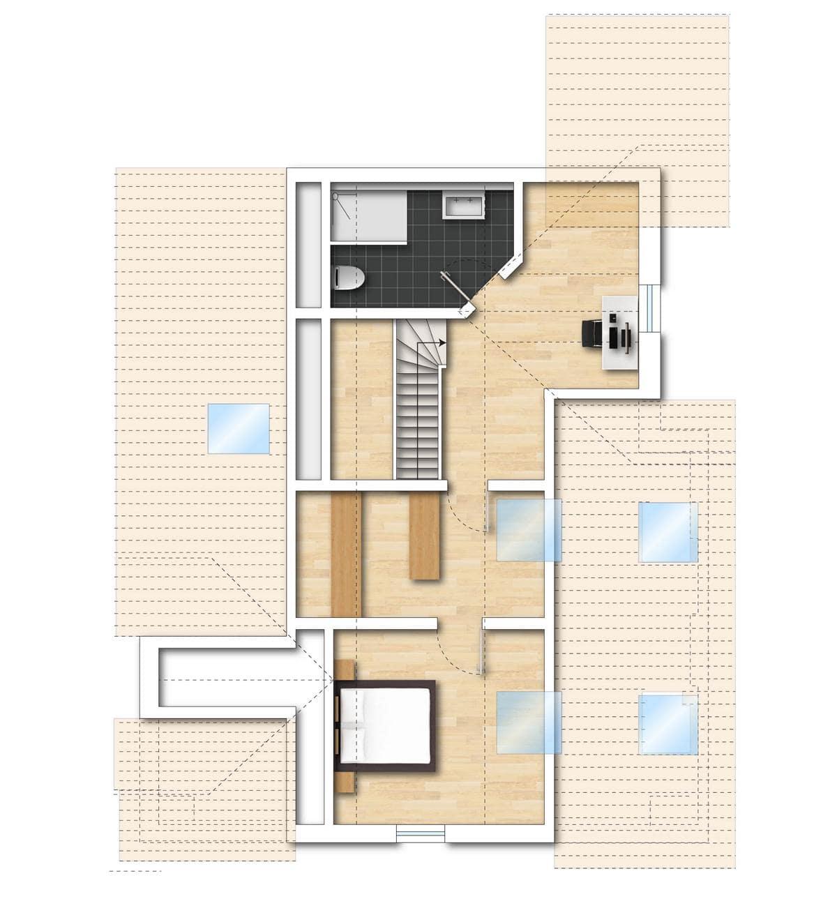 Grundriss Neubauwohnung 9 obere Etage Bodman im Weiler